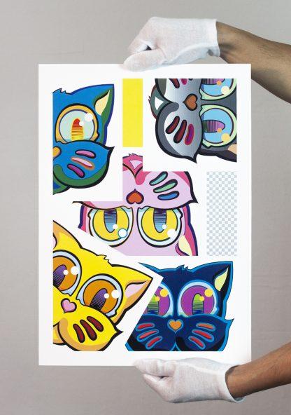 Lámina Grid Classic Sticker Collage del artista Álvaro Sánchez del Castillo del proyecto Grid el gato