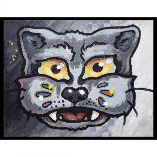 Pintura Grid X Wolf del artista Álvaro Sánchez del Castillo del proyecto Grid el gato