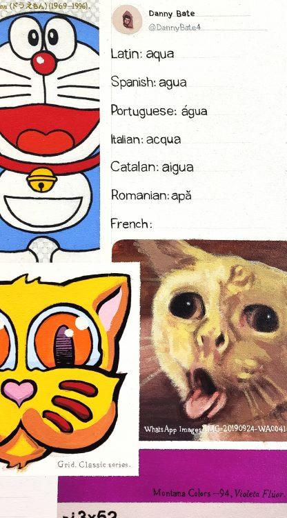 Detalle Agua de la pintura #kitty del artista Álvaro Sánchez del Castillo del proyecto La furia del hashtag: pinturas sobre postfotografias