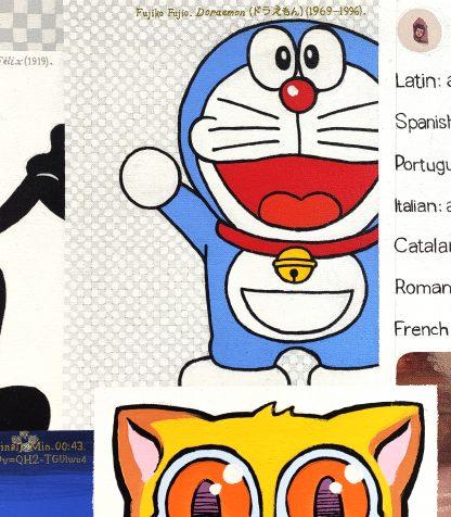 Detalle Doraemon de la pintura #kitty del artista Álvaro Sánchez del Castillo del proyecto La furia del hashtag: pinturas sobre postfotografias