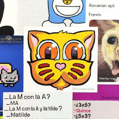 Detalle Grid de la pintura #kitty del artista Álvaro Sánchez del Castillo del proyecto La furia del hashtag: pinturas sobre postfotografias