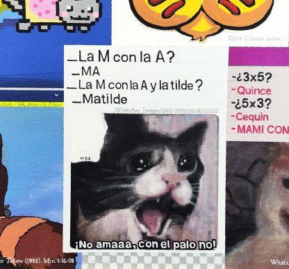 Detalle Matilde de la pintura #kitty del artista Álvaro Sánchez del Castillo del proyecto La furia del hashtag: pinturas sobre postfotografias