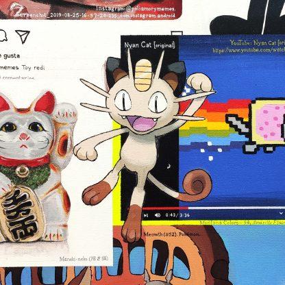 Detalle Meowth de la pintura #kitty del artista Álvaro Sánchez del Castillo del proyecto La furia del hashtag: pinturas sobre postfotografias