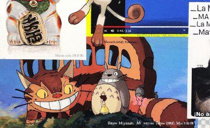 Detalle Mi vecino Totoro de la pintura #kitty del artista Álvaro Sánchez del Castillo del proyecto La furia del hashtag: pinturas sobre postfotografias