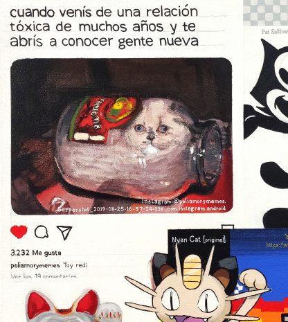 Detalle Toy redi de la pintura #kitty del artista Álvaro Sánchez del Castillo del proyecto La furia del hashtag: pinturas sobre postfotografias
