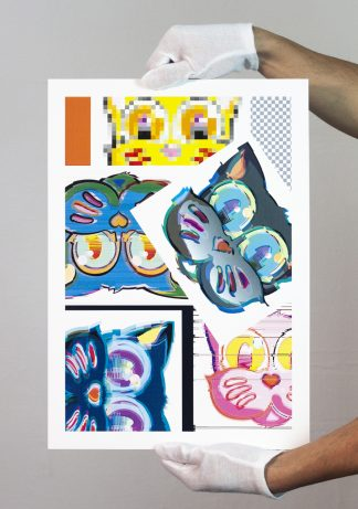 Lámina Grid Glitch Sticker Collage del artista Álvaro Sánchez del Castillo del proyecto Grid el gato