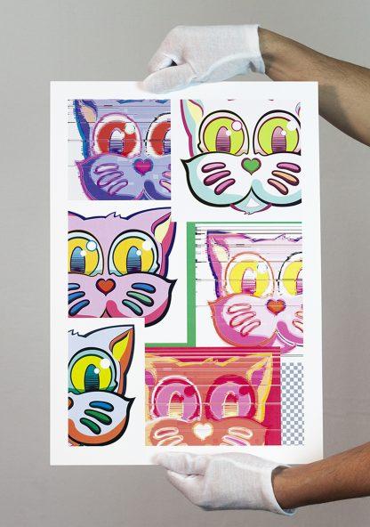 Lámina Grid Pink Sticker Collage del artista Álvaro Sánchez del Castillo del proyecto Grid el gato
