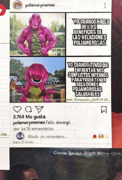 Detalle Barney poliamor de la pintura #love #sex del artista Álvaro Sánchez del Castillo del proyecto La furia del hashtag: pinturas sobre postfotografias