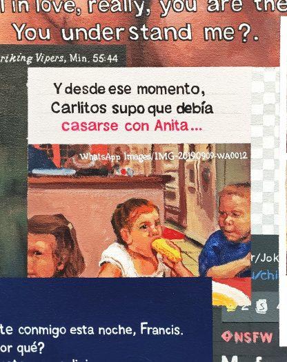 Detalle Carlitos Anita de la pintura #love #sex del artista Álvaro Sánchez del Castillo del proyecto La furia del hashtag: pinturas sobre postfotografias