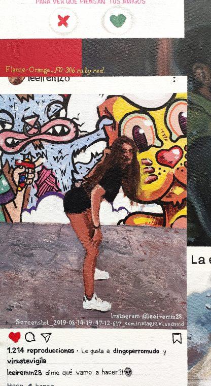 Detalle dime que vamo a hacer de la pintura #love #sex del artista Álvaro Sánchez del Castillo del proyecto La furia del hashtag: pinturas sobre postfotografias