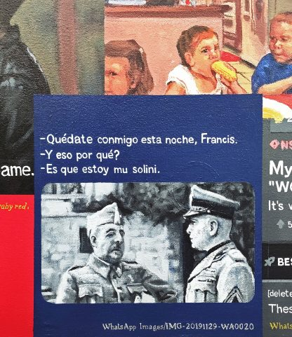 Detalle Francis Musolini de la pintura #love #sex del artista Álvaro Sánchez del Castillo del proyecto La furia del hashtag: pinturas sobre postfotografias