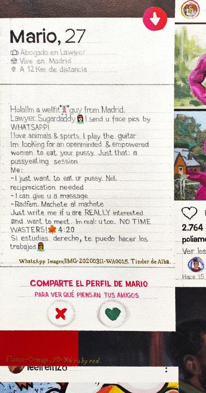 Detalle Mario, 27 de la pintura #love #sex del artista Álvaro Sánchez del Castillo del proyecto La furia del hashtag: pinturas sobre postfotografias