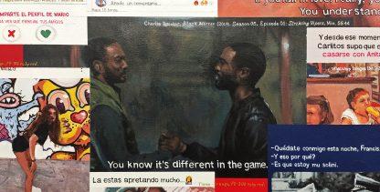 Detalle Striking Vipers de la pintura #love #sex del artista Álvaro Sánchez del Castillo del proyecto La furia del hashtag: pinturas sobre postfotografias