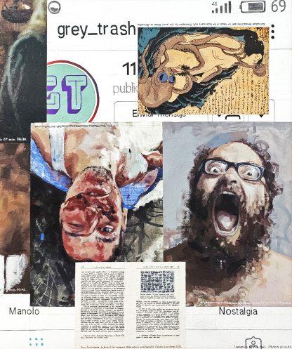 Detalle grey_trash de la pintura #random 01 del artista Álvaro Sánchez del Castillo del proyecto La furia del hashtag: pinturas sobre postfotografias