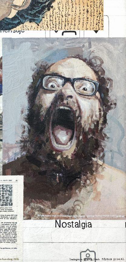 Detalle Ignatius Farray de la pintura #random 01 del artista Álvaro Sánchez del Castillo del proyecto La furia del hashtag: pinturas sobre postfotografias