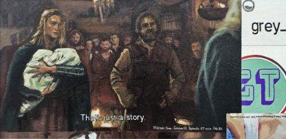 Detalle Vikings 01 de la pintura #random 01 del artista Álvaro Sánchez del Castillo del proyecto La furia del hashtag: pinturas sobre postfotografias