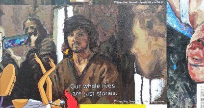 Detalle Vikings 02 de la pintura #random 01 del artista Álvaro Sánchez del Castillo del proyecto La furia del hashtag: pinturas sobre postfotografias