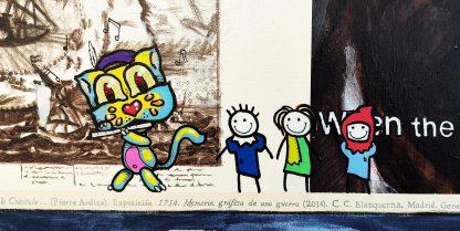 Detalle Grid el flautista de la pintura #story #fire del artista Álvaro Sánchez del Castillo del proyecto La furia del hashtag: pinturas sobre postfotografias