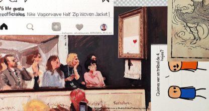 Detalle Banksy Sothebys de la pintura #troll del artista Álvaro Sánchez del Castillo del proyecto La furia del hashtag: pinturas sobre postfotografias