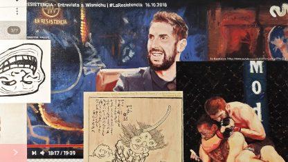 Detalle Broncano Wismichu La Resistencia de la pintura #troll del artista Álvaro Sánchez del Castillo del proyecto La furia del hashtag: pinturas sobre postfotografias