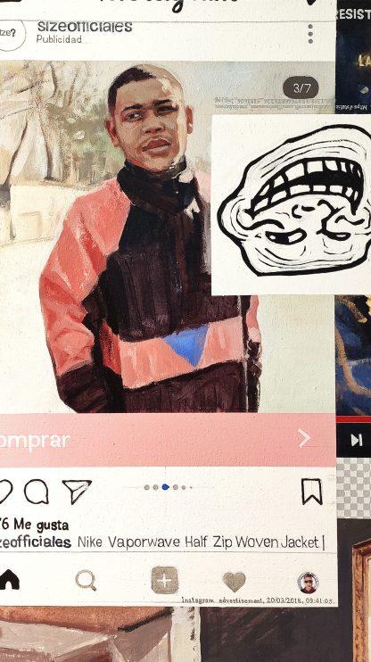 Detalle Nike Vaporwave Jacket de la pintura #troll del artista Álvaro Sánchez del Castillo del proyecto La furia del hashtag: pinturas sobre postfotografias