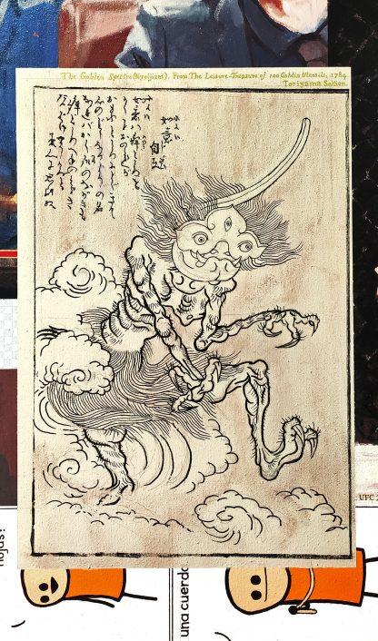 Detalle Nyoijizai Toriyama Sekien de la pintura #troll del artista Álvaro Sánchez del Castillo del proyecto La furia del hashtag: pinturas sobre postfotografias
