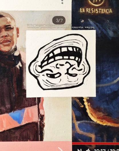 Detalle Troll face de la pintura #troll del artista Álvaro Sánchez del Castillo del proyecto La furia del hashtag: pinturas sobre postfotografias