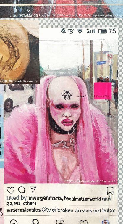 Detalle matieresfecales de la pintura #womenempowerment del artista Álvaro Sánchez del Castillo del proyecto La furia del hashtag: pinturas sobre postfotografias