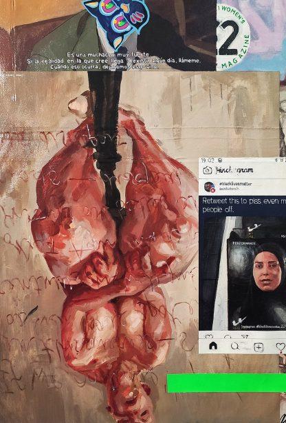 Detalle Propped Jenny Saville de la pintura #womenempowerment del artista Álvaro Sánchez del Castillo del proyecto La furia del hashtag: pinturas sobre postfotografias