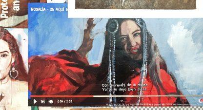 Detalle Rosalía de la pintura #womenempowerment del artista Álvaro Sánchez del Castillo del proyecto La furia del hashtag: pinturas sobre postfotografias